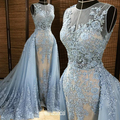 2016 New Removable Train Sky Blue Tulle Lace Applique Ball Gown Sleeves Formal Evening Dresses For Wedding Party Custom Made