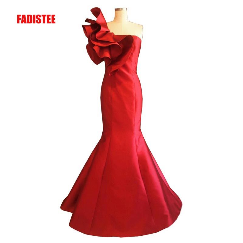 FADISTEE New arrival party elegant evening   dresses   Vestido de Festa   prom     dress   Robe De Soiree strapless ruffle with lace-up