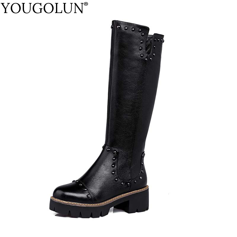 YOUGOLUN Women Knee High Boots 2017 New Winter Genuine Leather Black Rivets Platform Shoes Square Heel 5 cm Heels #Y-186 yougolun women knee high boots autumn winter genuine leather black thick heel 6 cm high heels rivets pointed toe shoes y 206
