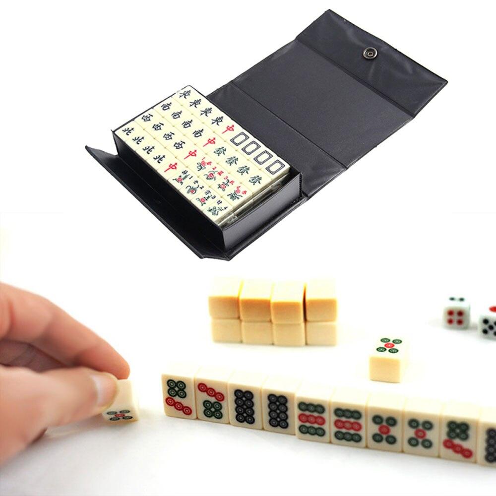 Divertissement amusant famille jeux de société Gfits Top 144 tuiles Portable chinois MahJong jeu Rare rétro Mah-Jong + boîte personnalisée