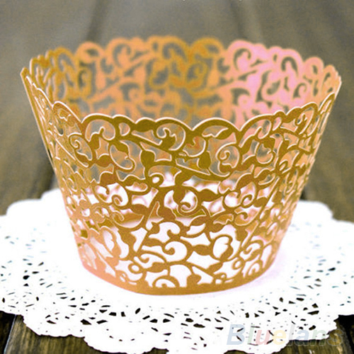 Image 5 - 12ocs/set Hollow Muffin Cupcake Paper Cups Wedding Birthday Baby Shower Filigree Vine Decor Wrapper Wraps Cupcake Cases-in Cake Molds from Home & Garden
