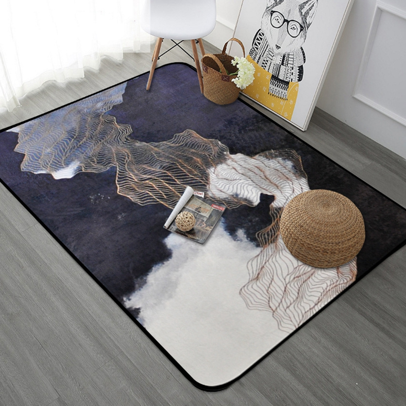 Style nordique bande dorée Rectangle Tapete épaissir tapis doux chambre moderne grands tapis salon tapis enfants aire de jeux tapis