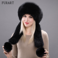 Genuine Fox Fur Hats Bombers With Rabbit Fur Top Pompom Winter Female Cap New Trapper Hat Caps Russian Bombers Hat HHY17-19