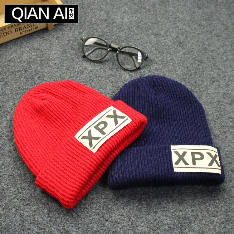 Ms Han Guochao baotou wool hat man of letters warm earmuffs flanging leisure knitting hat in winter han edition spot qiu dong the day han2 ban3 girl gradient fashionable joker knitting wool hat