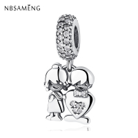 New Authentic 925 Sterling Silver Charm Bead Boy Girl Love Crystal Pendant Original Fit Pandora Bracelets
