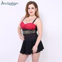 Anyfashion Plus Size Skirt Swimwear One Piece Swimsuit Big Women Swimwears Printed Beach Clothes Maillot De