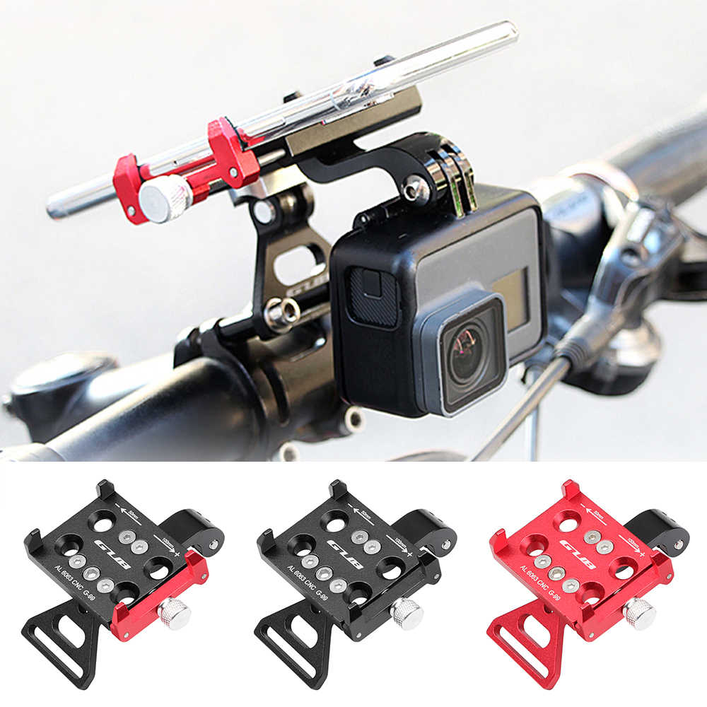 "GUB CNC Aluminum Bike Bicycle Mount Universal Adjustable Cell Phone Holder Bike Stem Mount for 3.5-6.2"" Phone GPS"