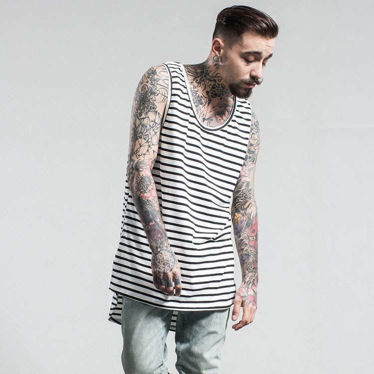 Aolamegs Tank Tops Men Extended Black White Striped Tee Sleeveless T Shirts Homme 2017 Spring Summer Hip Hop Fashion Streetwear (13)