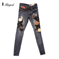 Rhinestone Jeans Pants Women 2016 Winter Autumn Skinny Jeans Womens Lace Slim Pencil Denim Pants With