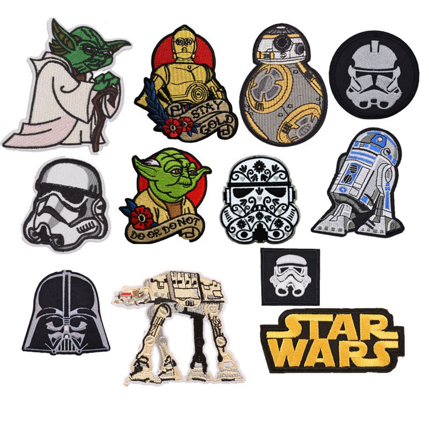1pc New Cartoon Star Wars Yoda Storm Trooper Bb8 Robot Wholesale Iron On Embroidered Cloth Clothes Patch For Clothing Girls Boys