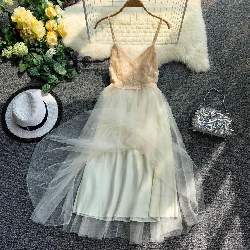 V-Neck Sequins Backless Sleeveless A-line Dress 6