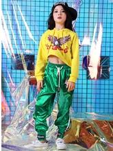 купить Children's jazz dance costumes hip hop street dance suit girls loose tide long sleeve dance clothes exercise clothes по цене 1066.2 рублей