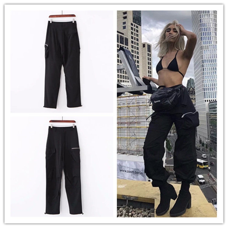 2019 Streetwear Cargo   Pants   Women Casual Joggers Black High Waist Loose Female Trousers Korean Style Ladies   Pants     Capri   XM508