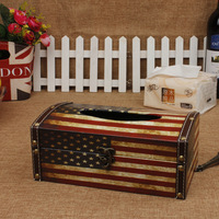 wholesale Stars and Stripes European style Retro Wooden Tissue Box Easy to carry Home Decoration Can clam shell Desktop storage