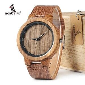 Image 1 - BOBO BIRD WD22 Zebra Wood Watch Men Grain Leather Band Scale Circle Brand Designer Quartz Watches for Men Women in Wooden Box