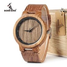 BOBO BIRD WD22 زيبرا ساعة خشب الرجال الحبوب حلقة من جلد مقياس دائرة العلامة التجارية مصمم ساعات كوارتز للرجال والنساء في صندوق خشبي