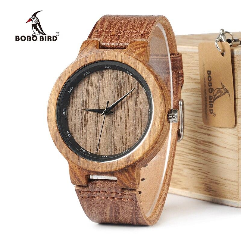 BOBO VOGEL WD22 Zebra Holz Uhr Männer Korn Leder Band kreis Marke Designer Quarz Uhren für Männer Frauen in Holzkiste
