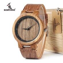 Bobo pássaro wd22 zebra relógio de madeira masculino grão couro banda escala círculo marca designer relógios de quartzo para homem mulher na caixa de madeira