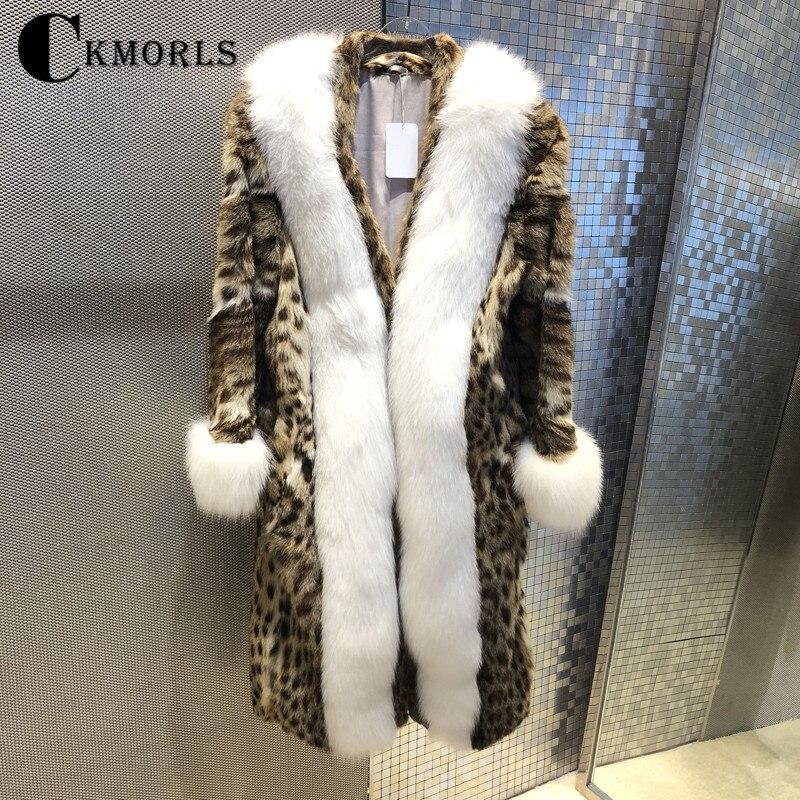 CKMORLS New Real Mink Fur Coats For Women Winter Parkas With White Fox Fur Collar Long Leopard Print Outwear Luxury Fur Jackets