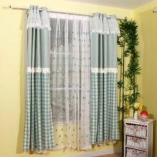 Занавески в зеленую клетку сельском стиле драпировки окон для