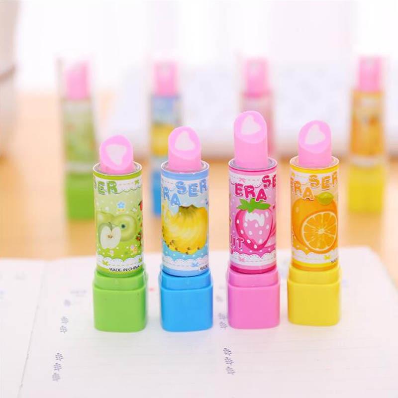 4 Pcs/Lot Creative Children Cartoon Lipstick Fruit Eraser Student Gift Stationery Eraser Office&School Supplies