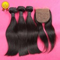 Unprocessed 100% Peruvian Virgin Hair Straight Extention 3 Bundles With 4*4 Silk Closure Top Quality Grade 7A DHL Free Shipping