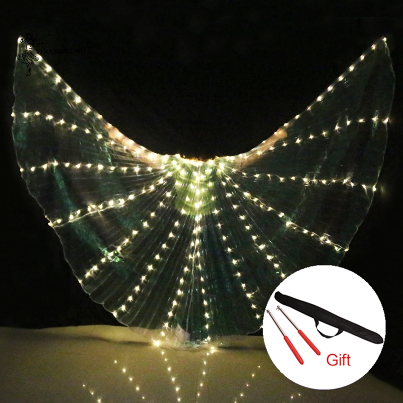 NEW Women Belly Dance Props 360 Degrees LED Shining Wings Girls Dance Wings Angle of Opening Dancer Props Wings With Sticks-in Belly Dancing from Novelty & Special Use    1