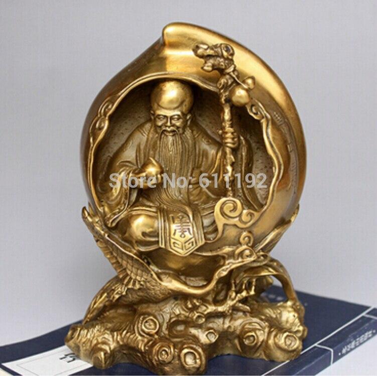 6 pouce En Métal artisanat chinois en laiton découpé Le Dieu de la longévité statue le meilleur pour Les Parents/père et mère cadeau
