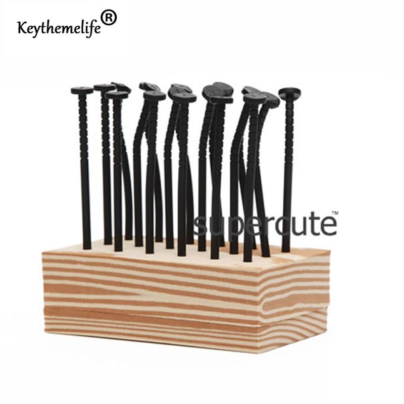Keythemelife 18gab / komplekts Karikatūra naglas Forma Augļu dakša Plastmasas augļu dārzeņu dakšas galda trauki 1C