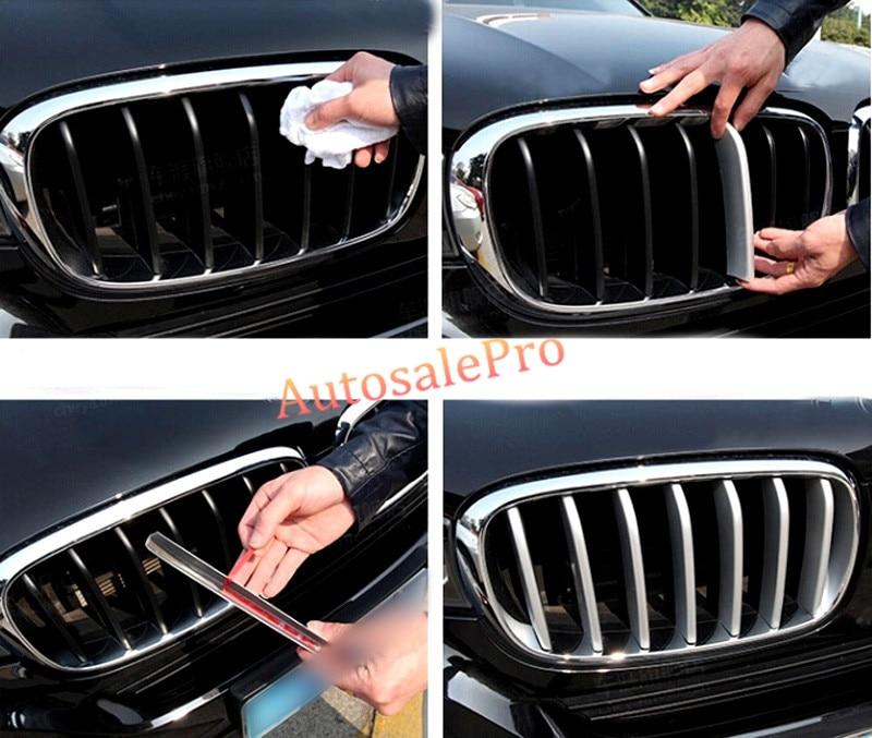 For BMW X5 F15 2014 2015 Matte ABS Chrome Front Center Grille Grill Cover Trims Matt 14pcsset 2014 2015 for bmw x5 f15 interior auto decoration trim stainless door inner handle bowls cover trims matte 4pcs
