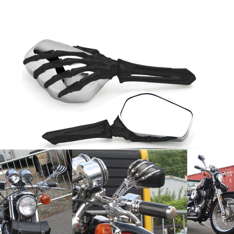 Motorcycle Skull Skeleton Mirrors For Honda Shadow Spirit AERO VT750 VT1100 VTX1300 for Suzuki C50 C90 C109R M50 M90 brand new skull zombie brake clutch levers for honda shadow vt600 vt vf cb750c vt1100 vtx1300