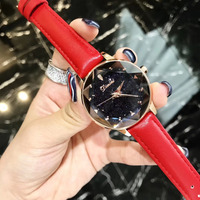 Tempting Red Watches for Women Party Dress Wrist watch Quartz Waterproof Real Leather Strap Watch Multi Cutted Six Star Crystal