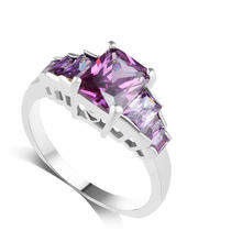 Classical Jewelry Princess Cut Light Purple Wedding Ring 10KT white gold CZ Women Vintage Engagement Rings XZ037(China)