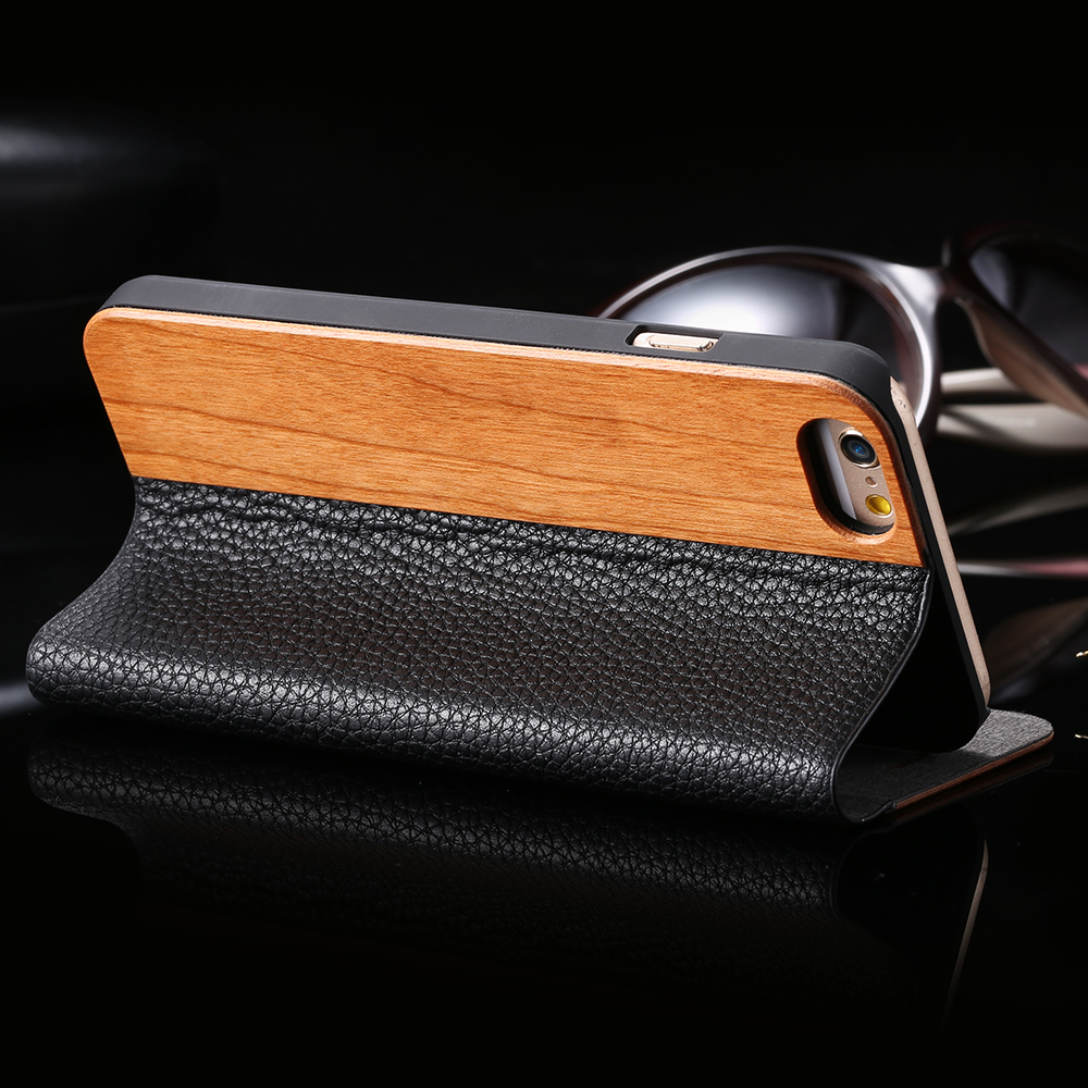 Kisscase kayu case untuk iphone 11 xr xs max redmi note 8 case dompet - Aksesori dan suku cadang ponsel - Foto 4