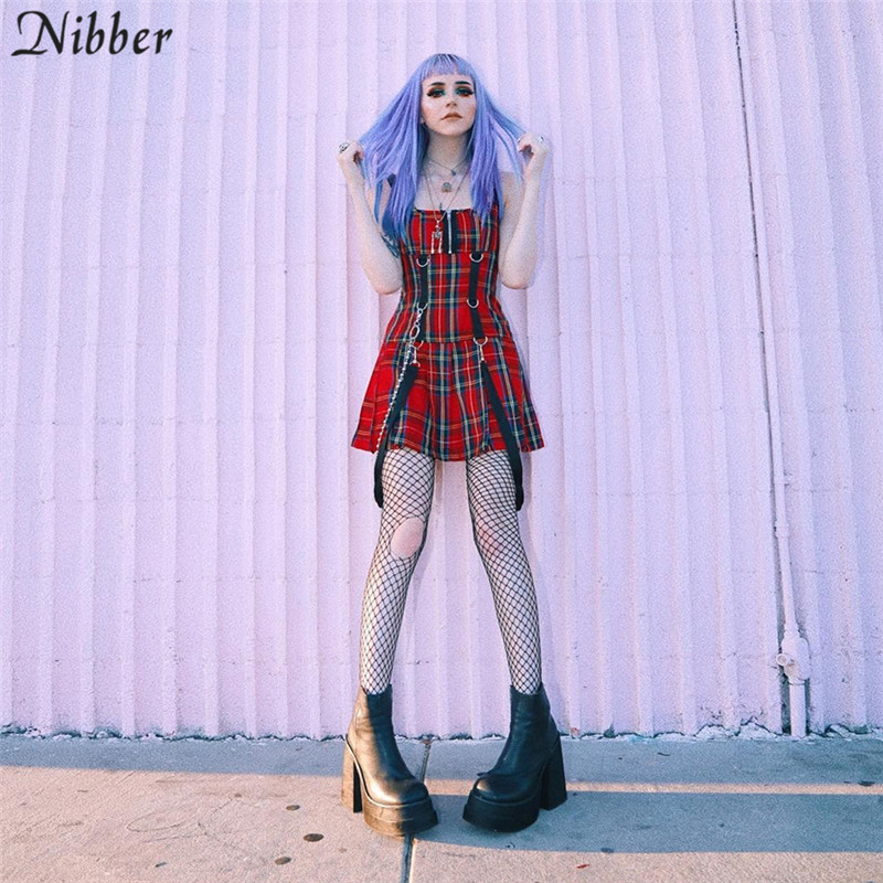 Nibber new women plaid red mini dress gothic style sling sleeveless dress2019 spring Autumn hot sale New Fashion girl wild dress