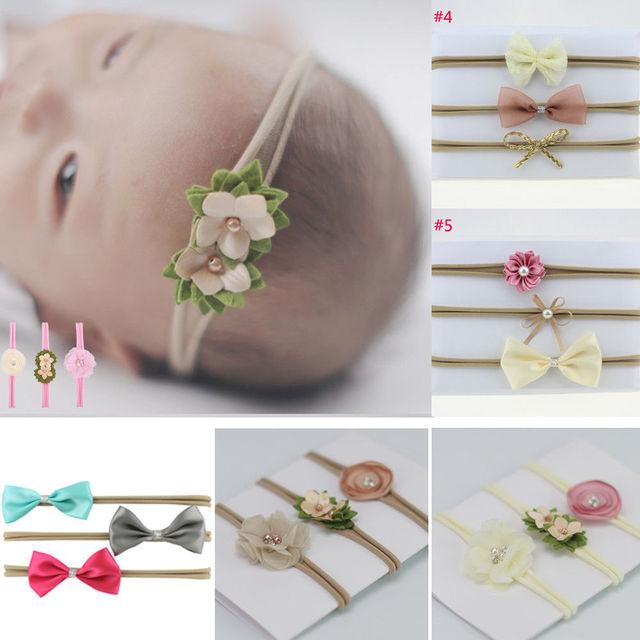 3 piezas recién nacido chico flor diadema de tela elástica de impresión Floral, banda de pelo chica Bowknot recién nacido fotografía Props