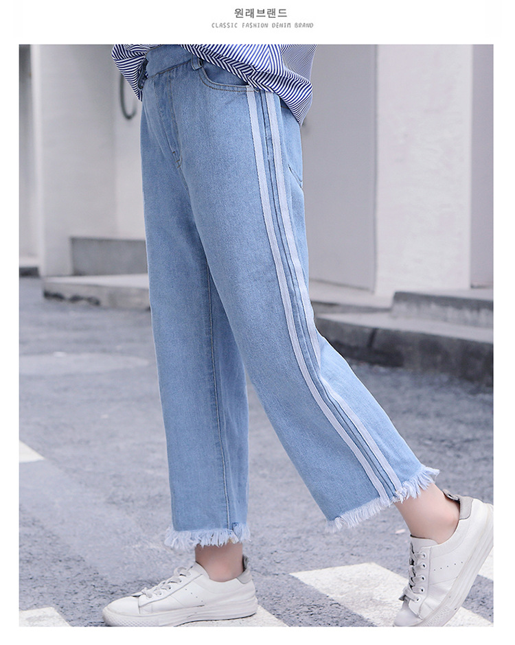 Girls 4-12 Years Spring Autumn Jeans Denim Loose Pants Casual Fashion Raw Edges Side Double Stripes Elastic Waist Jeans Trousers 14