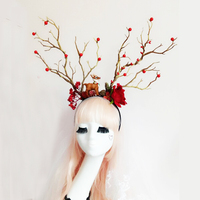 Unique Flower Headband Floral Tree Branch Headdress Women/Girl Gothic Cherry Headpiece For Festival Wedding Party or Photography