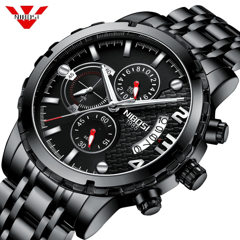 NIBOSI Top Luxury Brand Chronograph Sport Mens Watches Fashion Military Waterproof Quartz Watch Clock Men Relogio Masculino