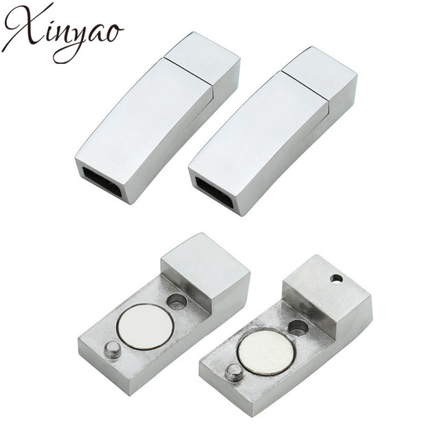 Xinyao Stainless Steel Square Magnetic Clasps 6 3mm For Leather Cord Necklace End Caps Bracelets