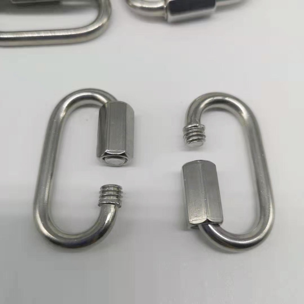 10pcs 4mm 304 Stainless Steel M4 Chain Quick Link Oval Thread Carabiner Chain Connector