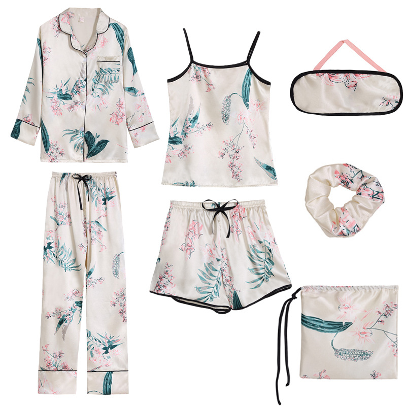 7 Pieces/  set   Flower Print 2019 Summer Women Silk   Pajamas     Sets   Satin Silk Strap Casual Pijama Homewear Pyjama Long Sleeve