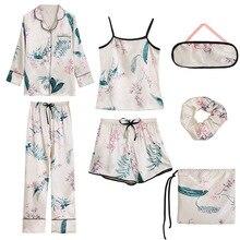 ZOOLIM 2018 נשים משי 7 חתיכות פיג מה סטי סאטן דק ספגטי רצועת Homewear פרח הדפסת Pyjama ארוך שרוול מזדמן פיג מה