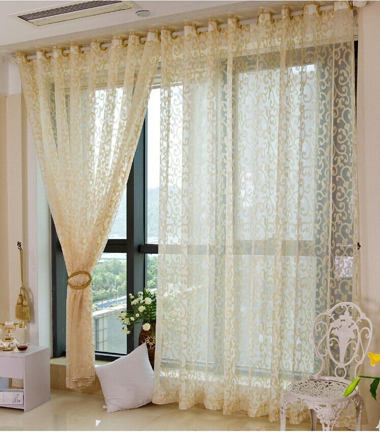 (2.6m high) European high grade modern voile tulle gauze gold sheer curtains  for