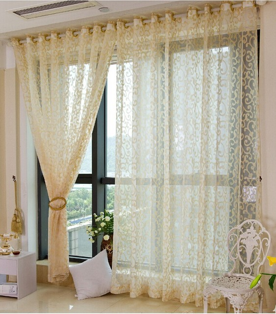 26m High European Grade Modern Voile Tulle Gauze Gold Sheer Curtains For