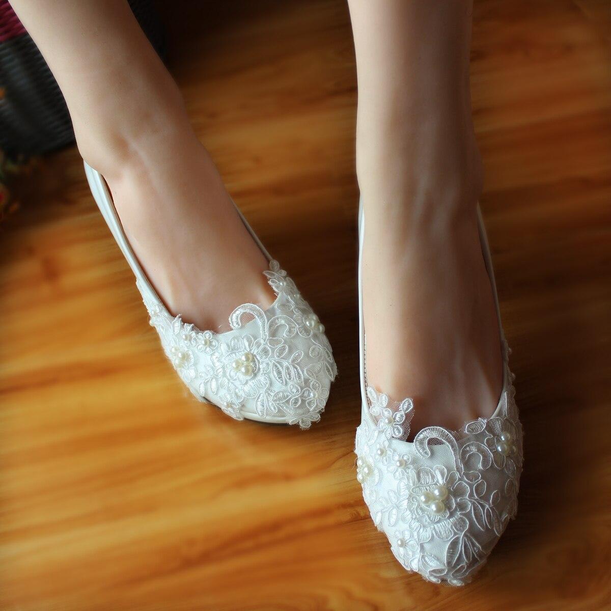 ( 8cm heel) high heel Pearl bridal shoes white handmade high-heeled lace womens wedding pumps shoe white