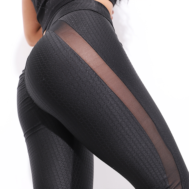CHRLEISURE Sexy Fitness   Leggings   Women Mesh Activewear Push Up Pants Elastic breathable Patch Workout High Waist   Leggings