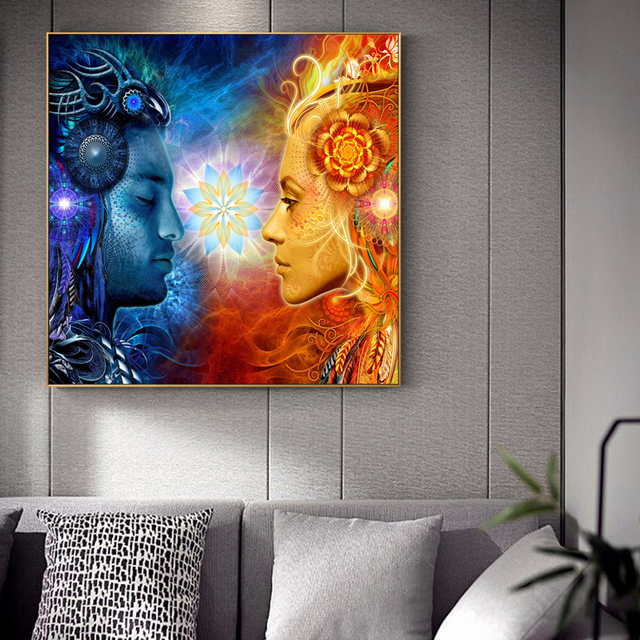 Tantra Shiva et Shakti | Imprimés de toile dart murale, affiches de dieux du Pop Art Hindu sur le mur, peintures Cuadros pour salon