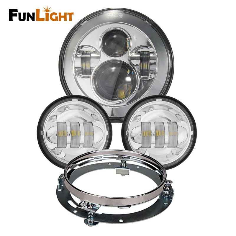Harley Daymaker 7 inch LED Headlight with 4.5 inch Led Fog Light for Harley Davidson Motorcycle with 7