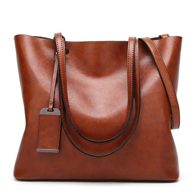 New Fashion Oil Wax Leather Women Handbag Brand Women's Messenger Crossbody bag Casual Tote Leather Female Shoulder bags 2018